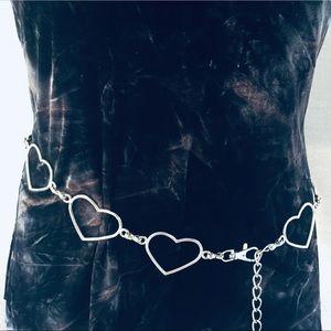 Silver tone Metal Heart Chain Belt